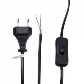Flexo kabel s vypínačem 2m/2x0,75 černá šňůra/PVC